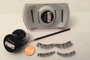 "Black Medium Length (16mm) / 3/4 Inch Wide 3 ""Round"" Magnet Luxury Magnetic Eyelash and Magnetic Eyeliner Combo Set"